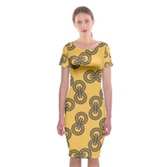 Abstract Shapes Links Design Classic Short Sleeve Midi Dress