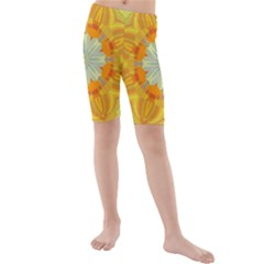 Sunshine Sunny Sun Abstract Yellow Kids  Mid Length Swim Shorts