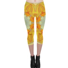 Sunshine Sunny Sun Abstract Yellow Capri Leggings