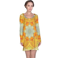 Sunshine Sunny Sun Abstract Yellow Long Sleeve Nightdress