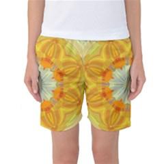 Sunshine Sunny Sun Abstract Yellow Women s Basketball Shorts