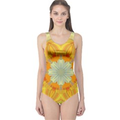 Sunshine Sunny Sun Abstract Yellow One Piece Swimsuit