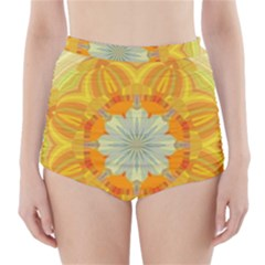 Sunshine Sunny Sun Abstract Yellow High-Waisted Bikini Bottoms