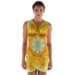 Sunshine Sunny Sun Abstract Yellow Wrap Front Bodycon Dress
