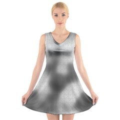 Puzzle Grey Puzzle Piece Drawing V Neck Sleeveless Skater Dress