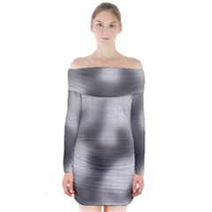 Puzzle Grey Puzzle Piece Drawing Long Sleeve Off Shoulder Dress
