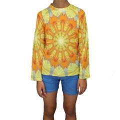 Sunshine Sunny Sun Abstract Yellow Kids  Long Sleeve Swimwear