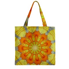 Sunshine Sunny Sun Abstract Yellow Zipper Grocery Tote Bag
