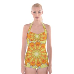 Sunshine Sunny Sun Abstract Yellow Boyleg Halter Swimsuit