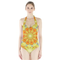 Sunshine Sunny Sun Abstract Yellow Halter Swimsuit