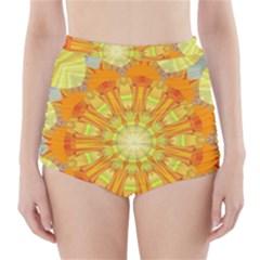 Sunshine Sunny Sun Abstract Yellow High Waisted Bikini Bottoms