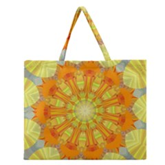 Sunshine Sunny Sun Abstract Yellow Zipper Large Tote Bag