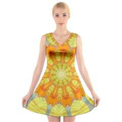 Sunshine Sunny Sun Abstract Yellow V Neck Sleeveless Skater Dress