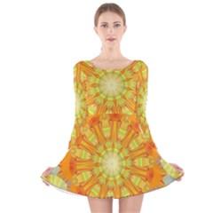 Sunshine Sunny Sun Abstract Yellow Long Sleeve Velvet Skater Dress
