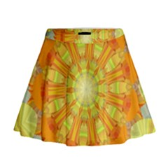 Sunshine Sunny Sun Abstract Yellow Mini Flare Skirt
