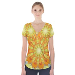 Sunshine Sunny Sun Abstract Yellow Short Sleeve Front Detail Top