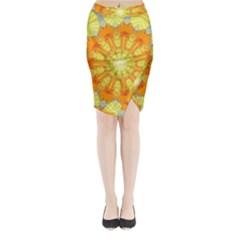 Sunshine Sunny Sun Abstract Yellow Midi Wrap Pencil Skirt