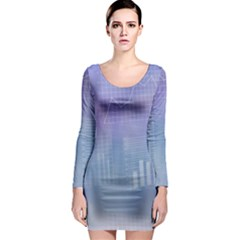 Business Background Blue Corporate Long Sleeve Bodycon Dress
