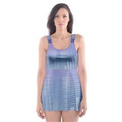 Business Background Blue Corporate Skater Dress Swimsuit