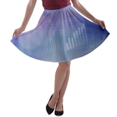 Business Background Blue Corporate A Line Skater Skirt