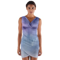 Business Background Blue Corporate Wrap Front Bodycon Dress
