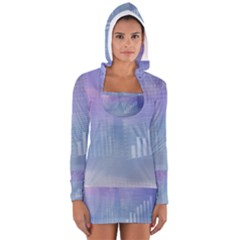 Business Background Blue Corporate Women s Long Sleeve Hooded T-shirt