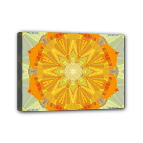 Sunshine Sunny Sun Abstract Yellow Mini Canvas 7  X 5