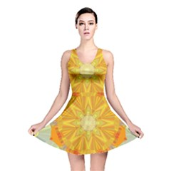 Sunshine Sunny Sun Abstract Yellow Reversible Skater Dress