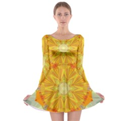 Sunshine Sunny Sun Abstract Yellow Long Sleeve Skater Dress
