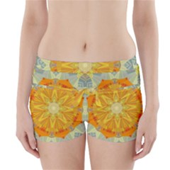 Sunshine Sunny Sun Abstract Yellow Boyleg Bikini Wrap Bottoms