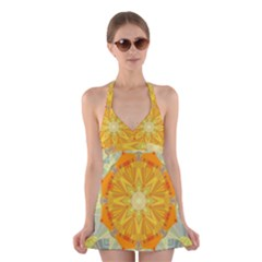 Sunshine Sunny Sun Abstract Yellow Halter Swimsuit Dress