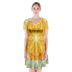 Sunshine Sunny Sun Abstract Yellow Short Sleeve V-neck Flare Dress