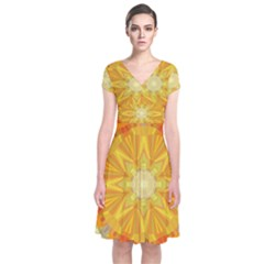 Sunshine Sunny Sun Abstract Yellow Short Sleeve Front Wrap Dress