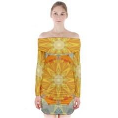 Sunshine Sunny Sun Abstract Yellow Long Sleeve Off Shoulder Dress