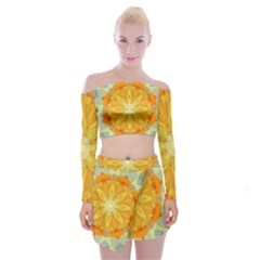 Sunshine Sunny Sun Abstract Yellow Off Shoulder Top With Skirt Set
