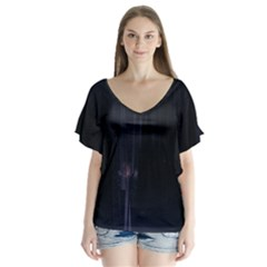 Abstract Dark Stylish Background Flutter Sleeve Top