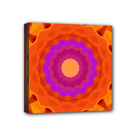 Mandala Orange Pink Bright Mini Canvas 4  X 4
