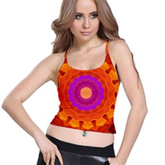 Mandala Orange Pink Bright Spaghetti Strap Bra Top