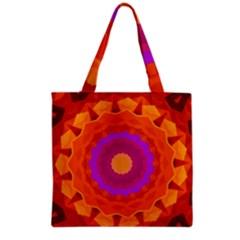 Mandala Orange Pink Bright Grocery Tote Bag