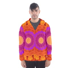 Mandala Orange Pink Bright Hooded Wind Breaker (men)
