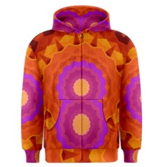 Mandala Orange Pink Bright Men s Zipper Hoodie
