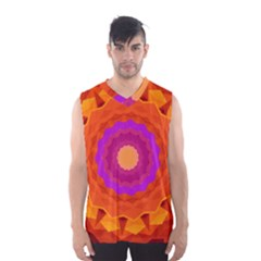 Mandala Orange Pink Bright Men s Basketball Tank Top