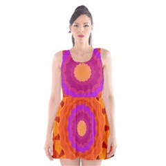 Mandala Orange Pink Bright Scoop Neck Skater Dress