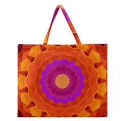Mandala Orange Pink Bright Zipper Large Tote Bag