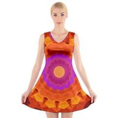 Mandala Orange Pink Bright V Neck Sleeveless Skater Dress