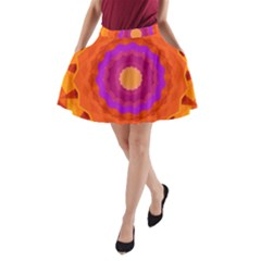 Mandala Orange Pink Bright A Line Pocket Skirt