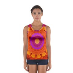Mandala Orange Pink Bright Women s Sport Tank Top