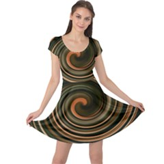 Strudel Spiral Eddy Background Cap Sleeve Dresses