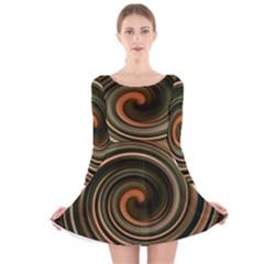 Strudel Spiral Eddy Background Long Sleeve Velvet Skater Dress