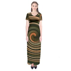 Strudel Spiral Eddy Background Short Sleeve Maxi Dress